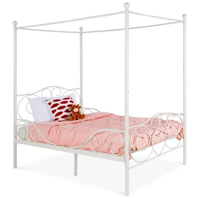 Best Choice Products 4-Post Metal Canopy Twin Bed Frame w/ Heart Scroll Design, 14 Slats, Headboard, Footboard - White