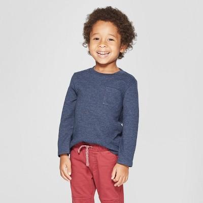 Toddler Boys' Tonal Strip Long Sleeve T-Shirt with Pocket - Cat & Jack™ Navy 18M