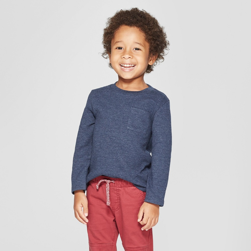 Toddler Boys' Tonal Strip Long Sleeve T-Shirt with Pocket - Cat & Jack Navy 18M, Blue