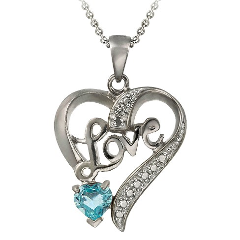 Sterling Silver Diamond Accent Blue Topaz Love/Heart Necklace - image 1 of 1