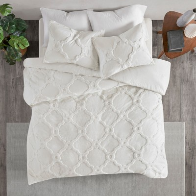 3pc King/Cal King Leena Cotton Chenille Geometric Comforter Set White