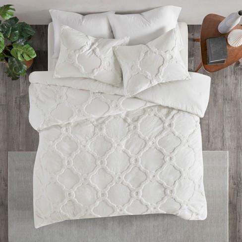 3pc Kingcal King Leena Cotton Chenille Geometric Comforter Set