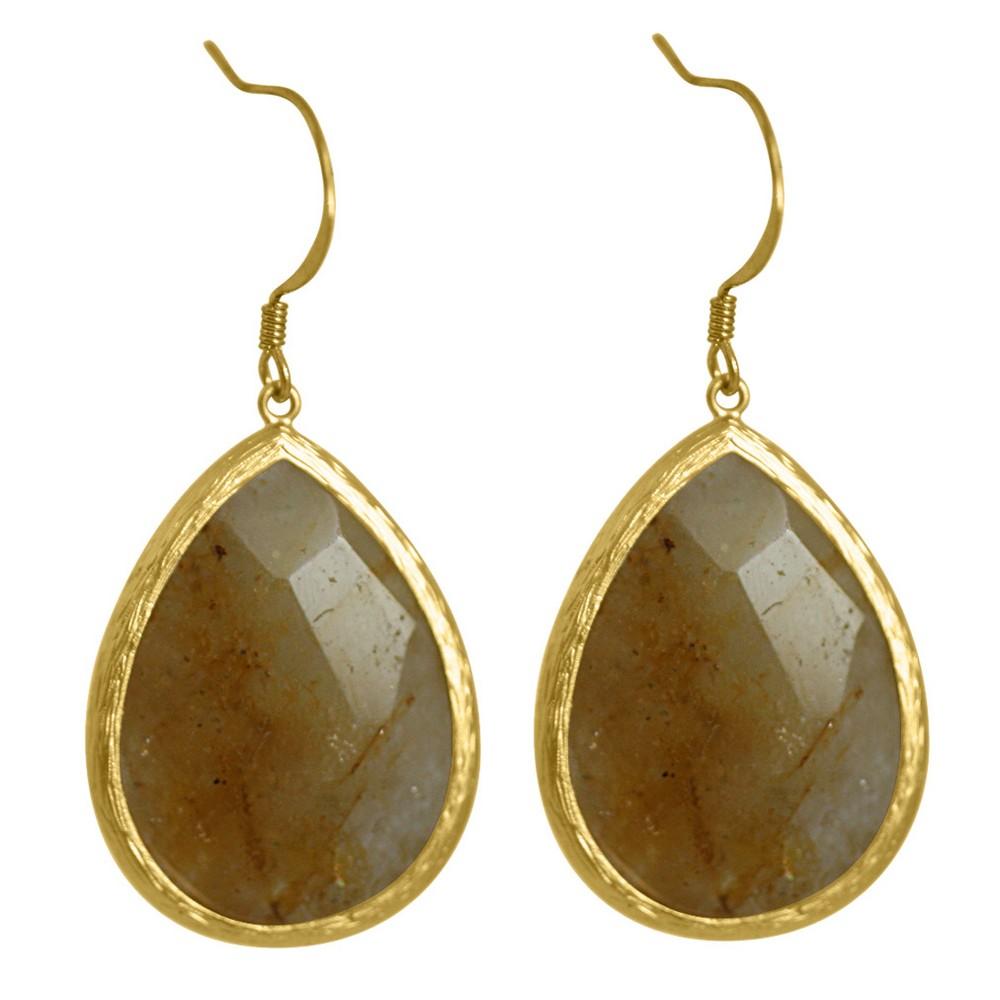 Zirconite Long Elongated Pear Shape Drop Earring - Carnelian, Girl's, Size: Large