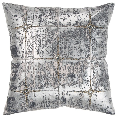 Abstract Decorative Filled Oversize Square Throw Pillow Silver - Rizzy Home - image 1 of 4