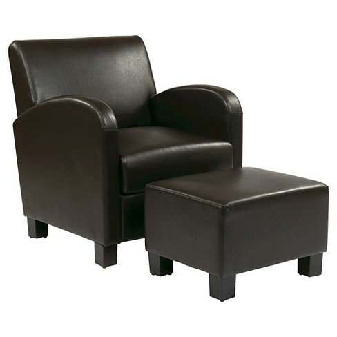 Faux Leather Club Chair with Ottoman Espresso - OSP Home Furnishings