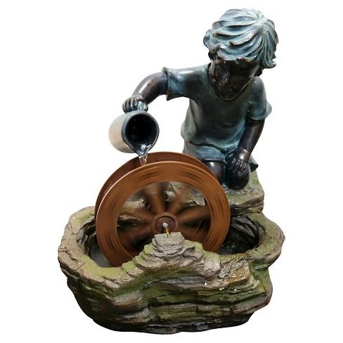 "Alpine Corporation 20"" Bronze Boy With Wheel Fountain - Multi Color - image 1 of 5"