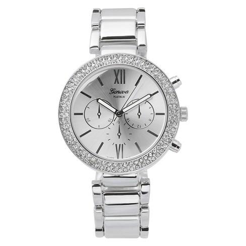 Women's Geneva Platinum Rhinestone Accented Link Watch - Silver - image 1 of 3