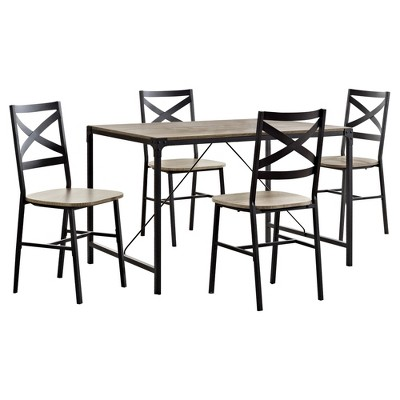 5pc Metal and Wood Angle Iron Dining Kitchen Set - Saracina Home
