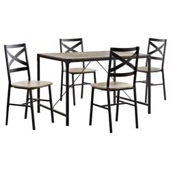 5pc Metal and Wood Angle Iron Dining Kitchen Set - Saracina Home