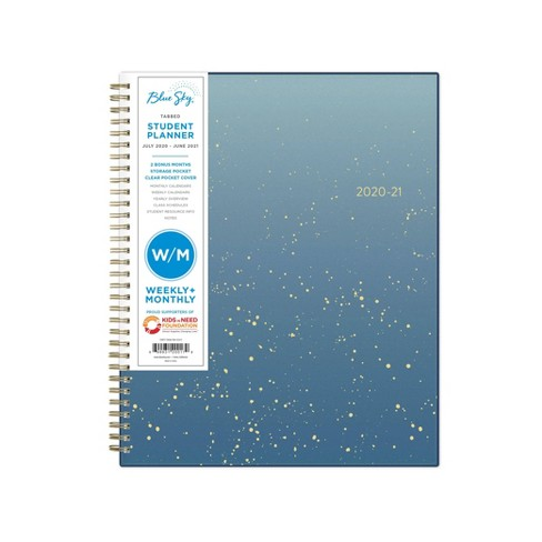 """2020-21 Academic Planner 8.5"""" x 11"""" Frosted PP Weekly/Monthly Wirebound Stellar Blue - Blue Sky - image 1 of 4"""