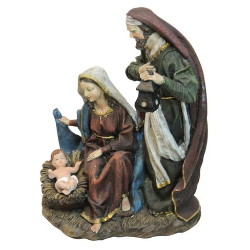 """Northlight 13.75"""" Green and Maroon Silent Night Holy Family Nativity Figurine - image 1 of 2"""