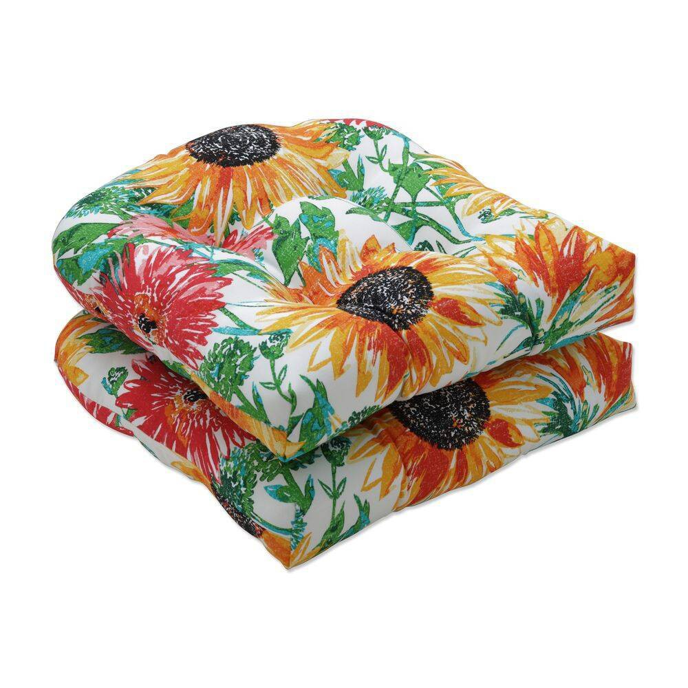 2pc 19 34 X 19 34 Outdoor Indoor Sunflowers Seat Cushion Yellow Pillow Perfect