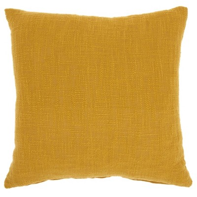 """18""""x18"""" Solid Woven Cotton Square Throw Pillow Mustard - Mina Victory"""