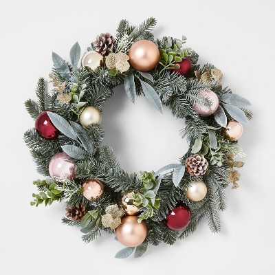 22in Mixed Artificial Pine Christmas Wreath with Shatterproof Ornaments Gold, Burgundy & Blush - Wondershop™