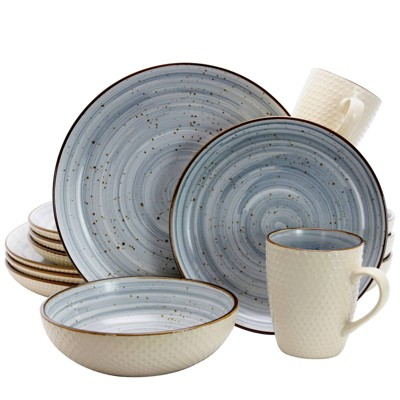 16pc Stoneware Cloud Dinnerware Set Blue - Elama