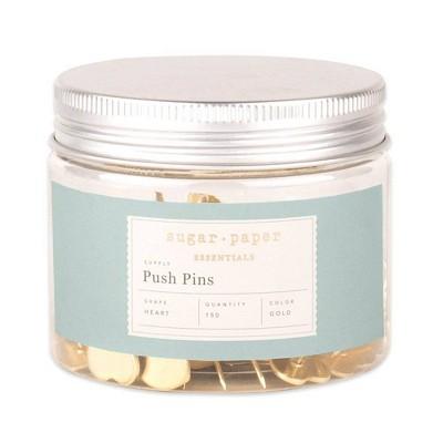 150ct Heart Shaped Push Pins Gold - Sugar Paper™