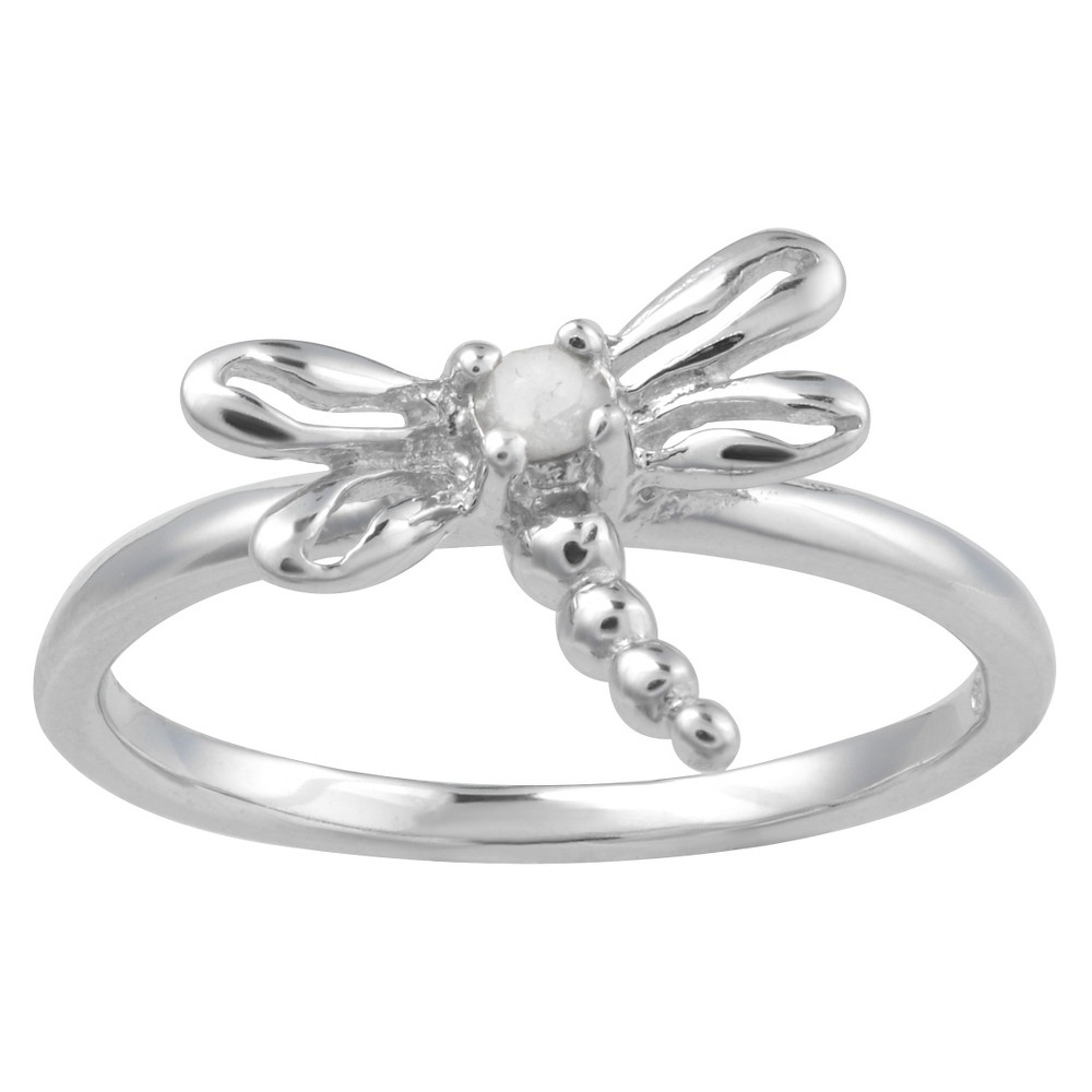 1/10 CT. T.W. Round-Cut Diamond Pave Set Dragonfly Ring in Sterling Silver (J-K-I1-I2) (8), Girl's