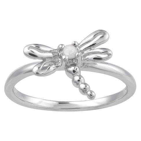 1/10 CT. T.W. Round-Cut Diamond Pave Set Dragonfly Ring in Sterling Silver (J-K-I1-I2) - image 1 of 2