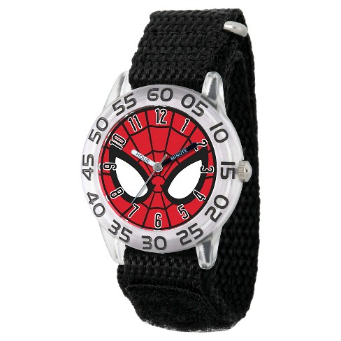 Boys' Marvel's Ultimate Spider-Man Clear Plastic Time Teacher Watch - Black - image 1 of 2