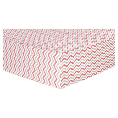 Trend Lab Deluxe Chevron Flannel Fitted Crib Sheet - Coral and Gray