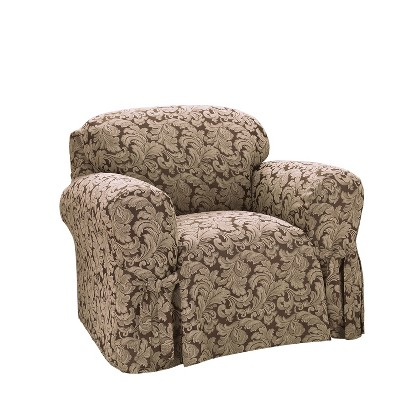 Scroll Chair Slipcover Brown - Sure Fit