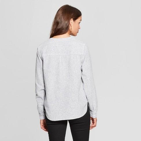 5e7bc933 Women's Long Sleeve Half Button-Down Shirt - Universal Thread™ Blue ...
