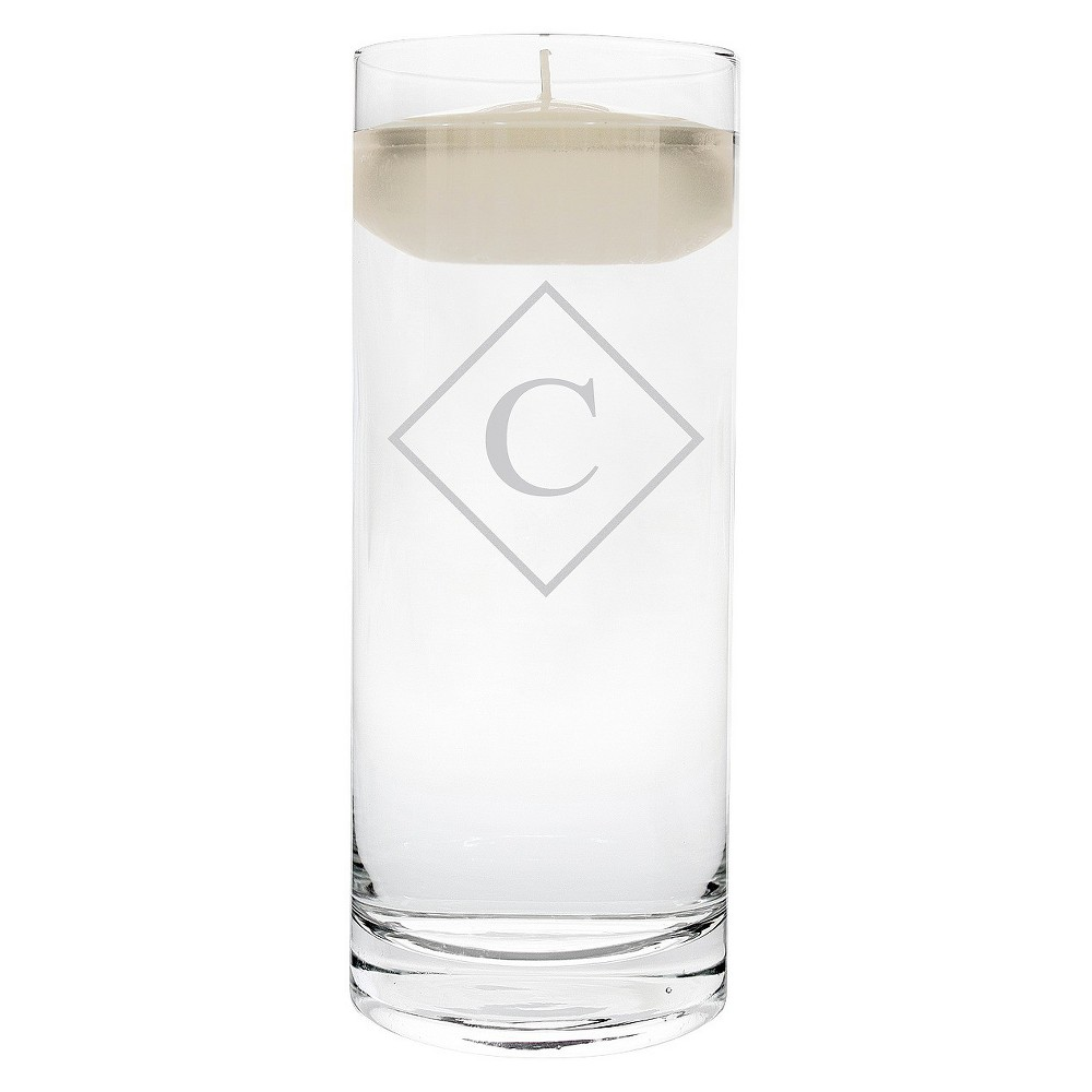 'c' Monogram Diamond Shape Floating Wedding Candle