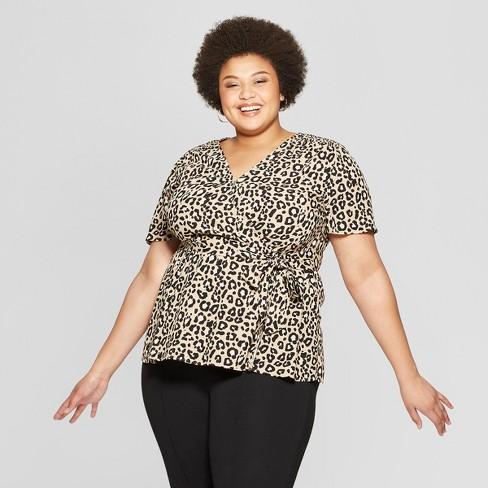 e9b2dfdb094 Women s Plus Size Leopard Print Short Sleeve V-Neck Wrap Top - Ava   Viv™  Tan