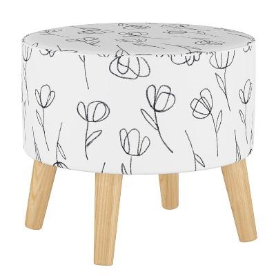 Round Ottoman with Splayed Legs Contoured Tulips White - Skyline Furniture
