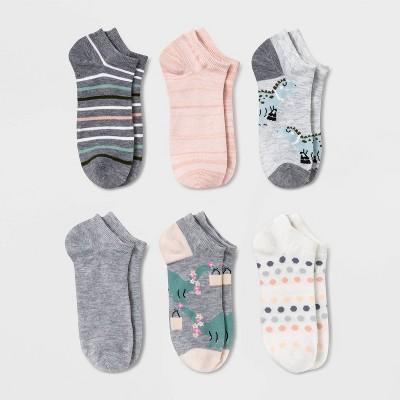 Women's Darling Dinosaurs 6pk Low Cut Socks - Xhilaration™ Heather Gray 4-10