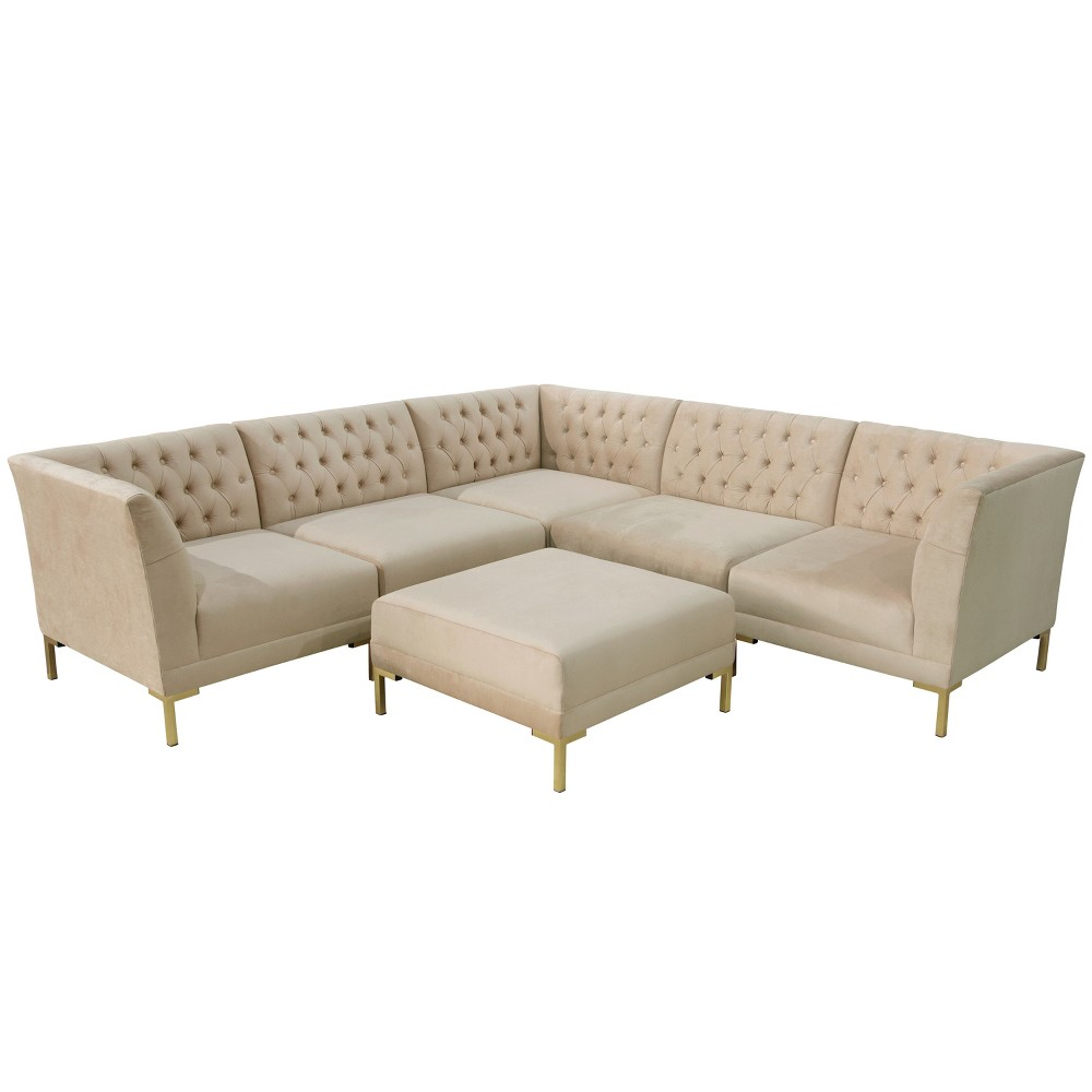 6pc Audrey Diamond Tufted Sectional Ivory Velvet and Brass Metal Y Legs - Cloth & Co.