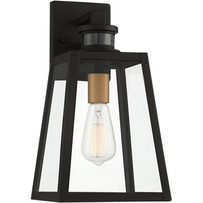 "John Timberland Industrial Outdoor Wall Light Fixture Black 14 3/4"" Clear Glass Dusk To Dawn Motion Sensor Exterior Porch Patio"