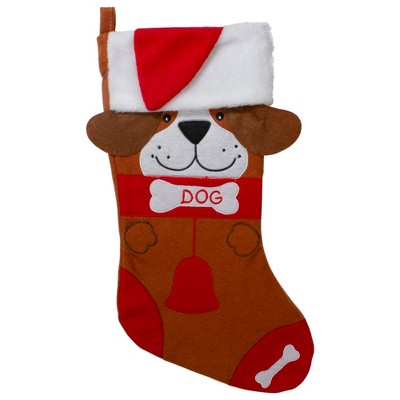"Northlight 17"" Red and Brown ""DOG"" Embroidered Christmas Stocking with Cuff"