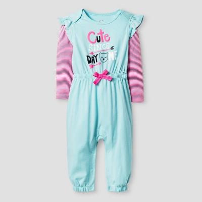 b1cb6f6ee Baby Girls Long Sleeve 2fer Cute Romper - Cat & Jack™ Turquoise Newborn