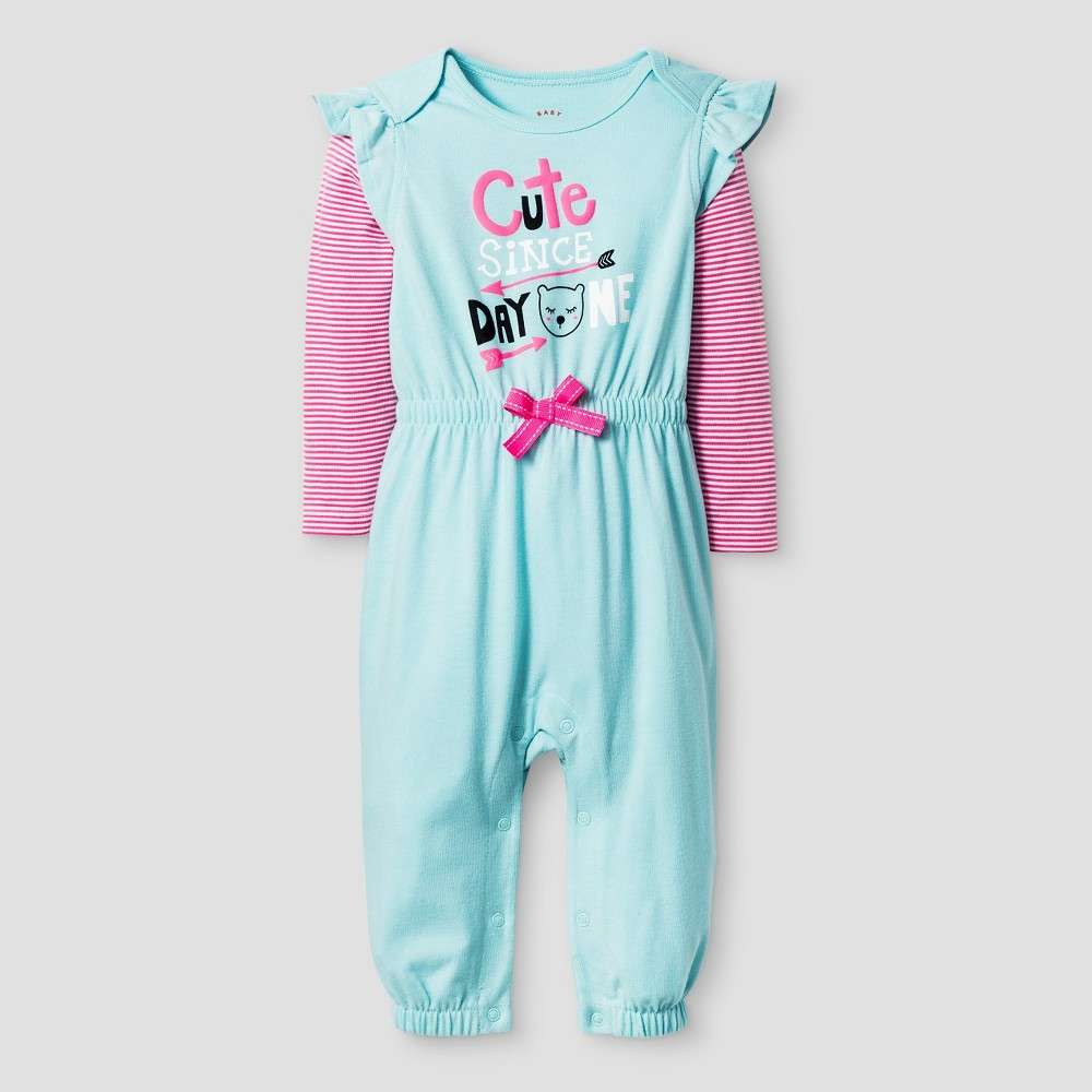 Baby Girls' Long Sleeve 2fer Cute Romper - Cat & Jack Turquoise 12M, Pastel Turquoise