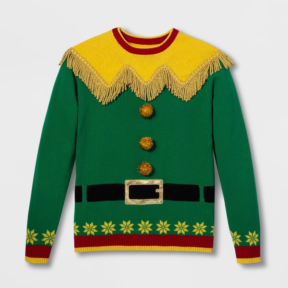 Image of 33 Degrees Men's Ugly Christmas Elf Fringe Yoke Long Sleeve Pullover Sweater - Green L, Size: Large
