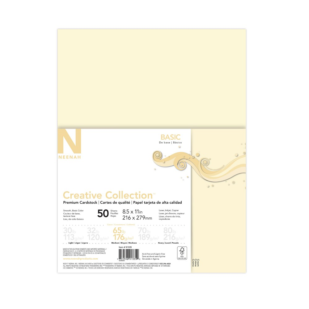 Image of 50ct Premium Cardstock 65lb Off-White - Creative Collection, Off White