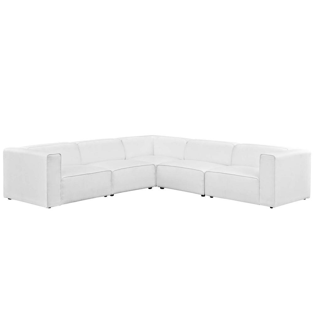 Mingle 5pc Upholstered Fabric Sectional Sofa Set White - Modway