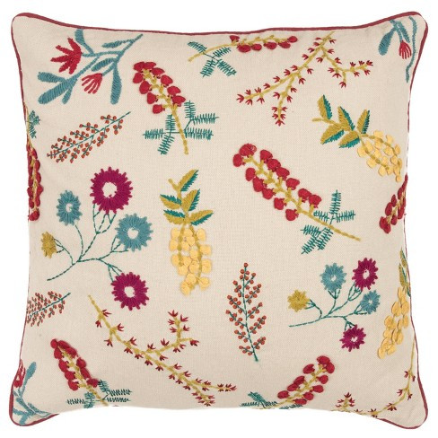 """20""""x20"""" Oversize Floral Square Throw Pillow Cover Beige - Rizzy Home - image 1 of 4"""