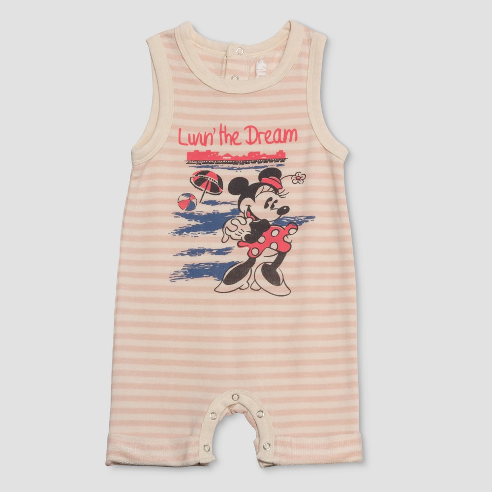 Junk Food Baby Girls' Disney Mickey Mouse & Friends Minnie Mouse Striped Bodysuit - White/Peach 9-12M