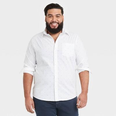 Men's Big & Tall Standard Fit Stretch Poplin Long Sleeve Button-Down Shirt - Goodfellow & Co™