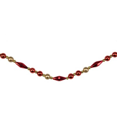 """Northlight 9' x 0.5"""" Shiny and Matte Red Beaded Shatterproof Artificial Christmas Garland - Unlit"""