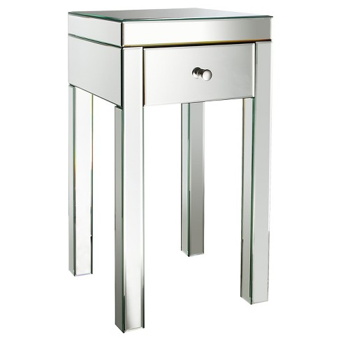 detailed look 996a2 18569 Mirrored Glass Accent Table with Drawer 25