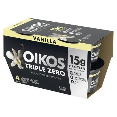 Dannon Oikos Triple Zero Greek Vanilla - 5.3oz/4pk