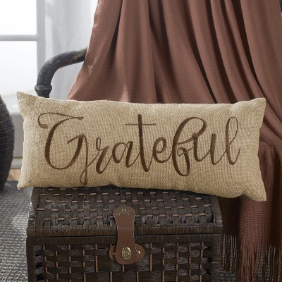 Lakeside Embroidered Burlap Bench Pillow in Harvest Color Hue with Sentimental Phrase