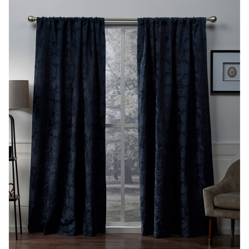 Elle Heavyweight Floral Scroll Chenille Jacquard Room Darkening Rod Pocket Window Curtain Panel Pair Navy (Blue) (52