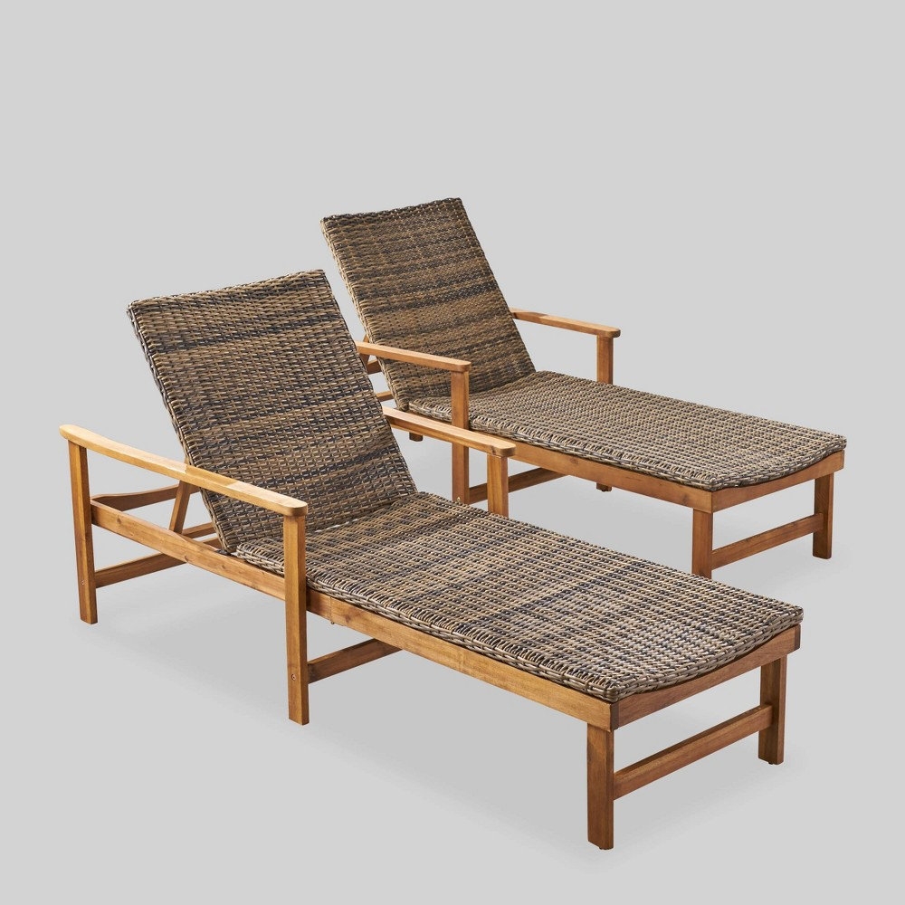 Hampton 2pk Acacia Wood and Wicker Chaise Lounges Natural/Mixed Mocha - Christopher Knight Home