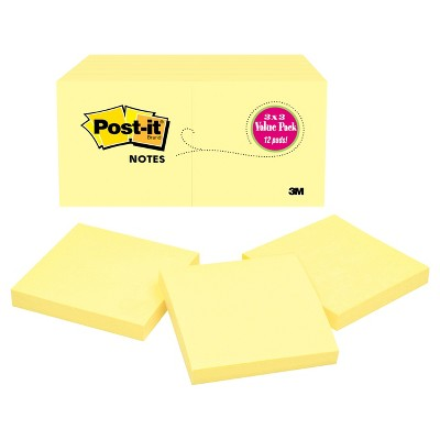 "Post-it Notes 12pk 3"" x 3"" 100 Sheets/Pad - Canary Yellow"