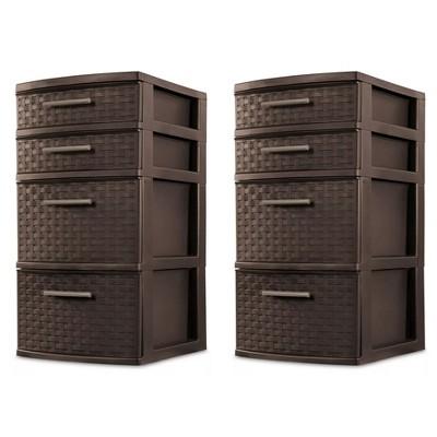 Sterilite 26226P02 4 Drawer Organizer Storage Tower with Medium Weave Drawer Fronts and Easy-Pull Handles, Espresso Brown (2 Pack)