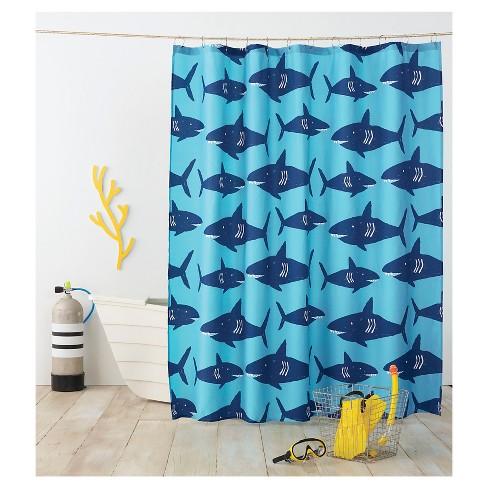 Shark Shower Curtain Navy
